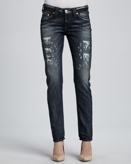 True Religion Breana Distressed Granite Slim Boyfriend Jeans