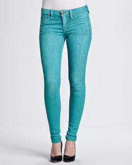 True Religion Halle Skinny Crackle Jeans, Turquoise