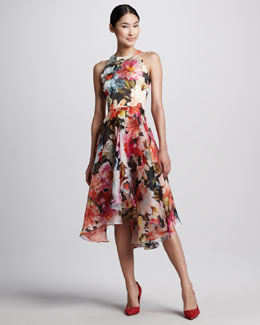 Carmen Marc Valvo Floral-Print High-Low Cocktail Dress