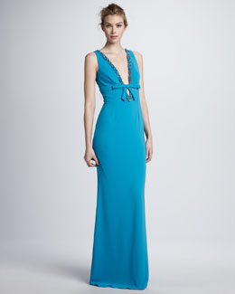 Mark + James by Badgley Mischka Beaded Deep-V Gown