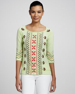 JWLA for Johnny Was Tricia Embroidered Raglan-Sleeve Tee