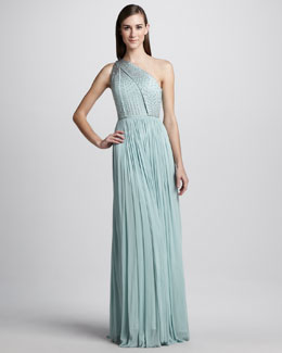 Catherine Deane Beaded One-Shoulder Tulle Gown