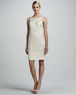 Sue Wong Beaded Scoop-Back Cocktail Dress