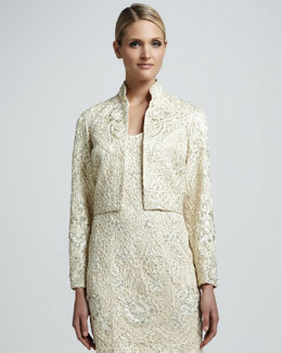 Sue Wong Beaded Long-Sleeve Bolero