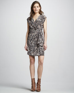 Rachel Zoe Hannah Draped Dot-Print Dress