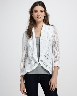 Autumn Cashmere Draped Pointelle Cardigan, Bleach White