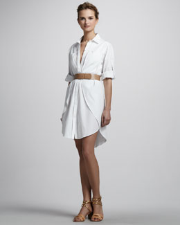Halston Heritage Belted Shirtdress with Overlay