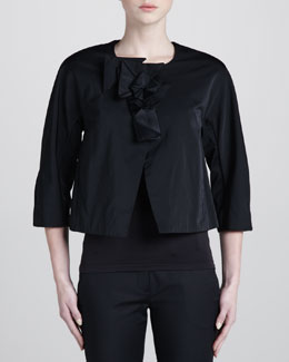 Donna Karan Collarless Jacket, Black