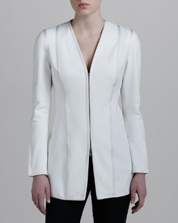 Donna Karan V-Neck Zip Jacket