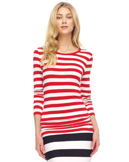 MICHAEL Michael Kors Striped Boat-Neck Top