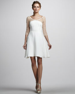 Nha Khanh Sheer Polka-Dot-Sleeve Dress, Ivory