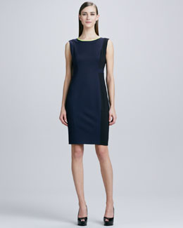 Elie Tahari Margot Contrast-Trim Sheath Dress, Navy Yard/Black