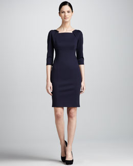 Elie Tahari Patrina Envelope-Shoulder Sheath Dress, Navy Yard