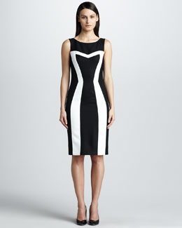 David Meister Contrast Pique Dress