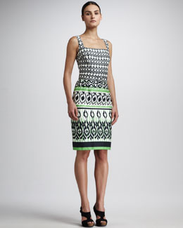 David Meister Square-Neck Printed Dress