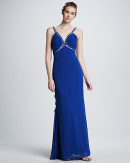 Faviana Bead-Trim Ruffle-Back Gown