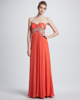 Faviana Strapless Beaded Empire Gown