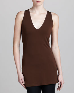 Donna Karan Long Racerback Jersey Top