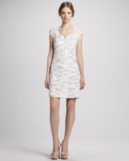 Phoebe Couture Printed Cap-Sleeve Zip Dress