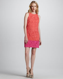 Phoebe Couture Colorblock Lace Overlay Dress