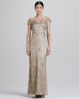 Kay Unger New York Lace and Sequined Gown