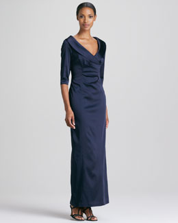 Kay Unger New York Shawl-Collar Gown