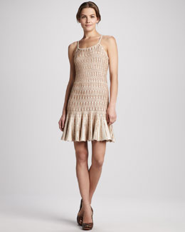 Alice + Olivia Fern Drop-Waist Knit Slip Dress