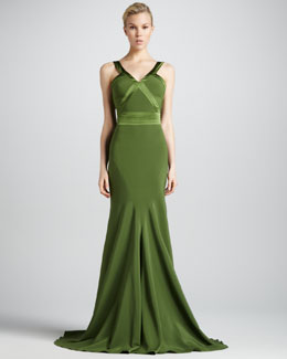 ZAC Zac Posen Flared Stretch-Charmeuse Halter Gown