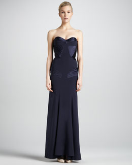 ZAC Zac Posen Pleat-Panel Strapless Gown