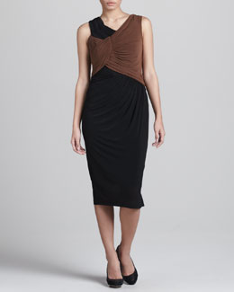 Donna Karan Two-Tone Ruched Dress
