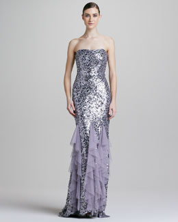 Badgley Mischka Strapless Sequined Ruffled Chiffon Gown