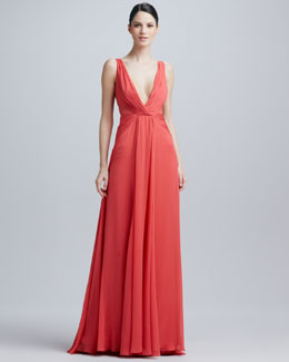 Badgley Mischka V-Neck Overlay Gown