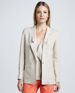 Magaschoni Linen Shirt Jacket