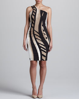 Donna Karan Printed One-Shoulder Dress