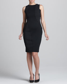 Donna Karan Sleeveless Swirl-Patchwork Dress