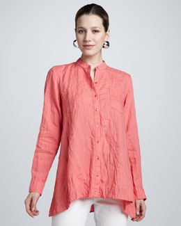 Eileen Fisher Handkerchief Linen Button-Front Boxy Shirt, Women's
