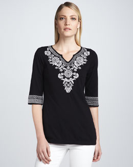 JWLA for Johnny Was Maddie Embroidered Boho Tunic, Black