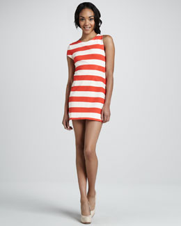 Aiko Laurette Striped Single-Sleeve Dress