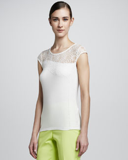 T Tahari Nalia Lace-Illusion Knit Top
