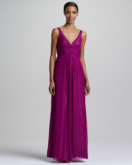 Nicole Miller Sleeveless Sparkle V-Neck Gown