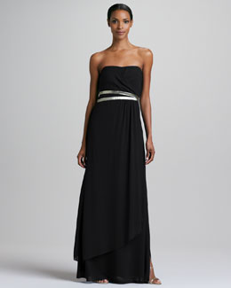 Nicole Miller Strapless Gown with Metallic Belt