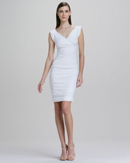 Nicole Miller Cap-Sleeve Linen-Blend Dress