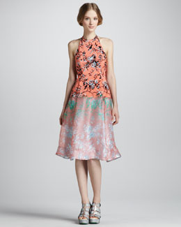 Nanette Lepore Sound Art Candy Mix-Print Halter Dress