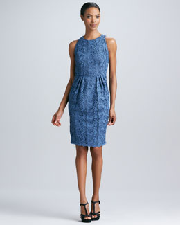Carmen Marc Valvo Sleeveless Lace Cocktail Dress