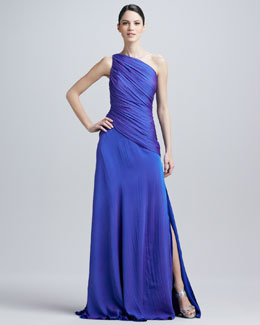 Carmen Marc Valvo One-Shoulder Ruched Gown