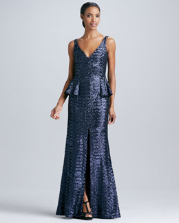 Carmen Marc Valvo Sleeveless Peplum Gown