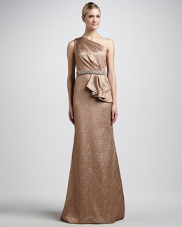 Carmen Marc Valvo One-Shoulder Brocade Gown