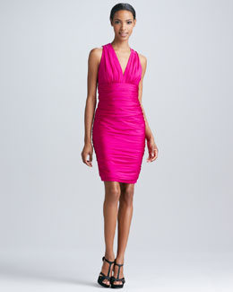 Carmen Marc Valvo Ruched V-Neck Cocktail Dress