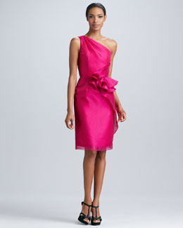 Carmen Marc Valvo One-Shoulder Ruffled Cocktail Dress