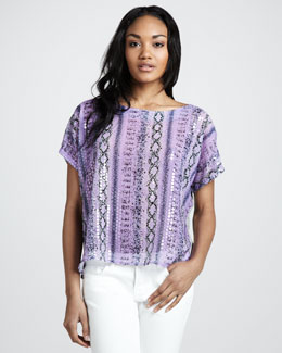 T Bags Snake-Print Sequin Top